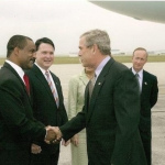 Isaac Randolph with President George Bush